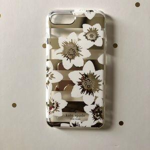 ♠️Kate Spade iPhone 8 Plus Cream Gold Flowers Case